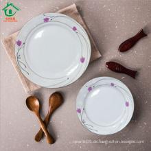 Neue Art runde geschnürte keramische zerbrechliche Platten Porzellanteller