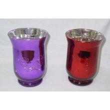 Porte-bougeoir en verre coloré en argent et titulaire d'ouragan