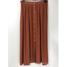 Button Front Rust Coloured A line Skirt