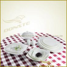 13 PCS Western Dinner Set Plain Während Graceful Emblossed Lines