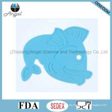 Placemat barato del silicón con la forma Sm18 de los pescados