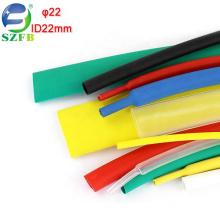 Feibo red green yellow blue black white clear PE material diameter 22mm 2X single wall heat shrink tubing