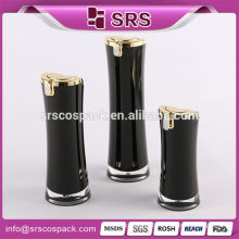Round Waist Lotion Bottle For face Cream And 15ml 30ml 50ml Plastic Acrylic Black Moisturizing Cream Bottle