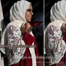 Top mulheres vendendo padrão de estilo de vida agradável mulheres rendas à moda bordado muçulmano cachecol xale de algodão rendas hijab