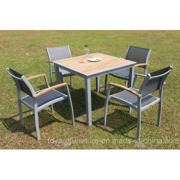 Patio Esstisch Stuhl Fsc Holz Grau Stapeln Aluminium Schlinge Europäische Moderne Outdoor Möbel