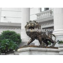Large Modern Lion Arts ainmals décoration extérieure sculpture en cuivre pour construction urbaine