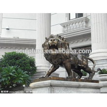 Большие Современные Искусства Льва ainmals наружная художественная медная скульптура для Городского здания