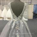 Fábrica atacado cinza backless elegante vestido formal flor a linha de vestido de noite