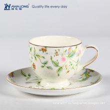 De vanguardia colorido dibujo translúcido hueso de cerámica China té taza de café y platillo Set