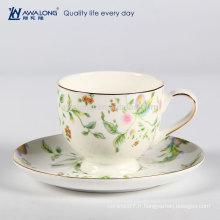 Dessin coloré à la fine pointe des dessins en céramique translucide en os de Chine Ensemble de tasse de thé et de soucoupe en Chine