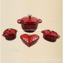 4PCS ferro fundido Cookware definido no revestimento do esmalte