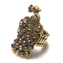 Top Quality full rhinestones Vintage gold color metal peacock shape fashion Style Stretch Rings cute jewelry rings for woman