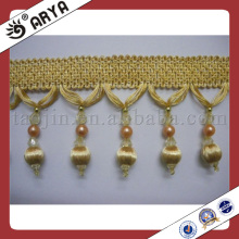 Golden Beaded Tassel Trimming Fringing for Curtain Accessory Home Textile