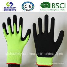 Gaine de nylon 13 Gauge, revêtement de nitriles, gants de travail de sécurité de finition sablonneuse (SL-NS107)