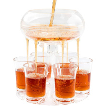 wholesale party games tools Whisky beer accessories transparent 6 shot glass dispenser and holder