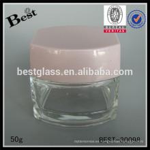 Tarro cosmético 50g con la tapa, tarro poner crema de cristal para la venta, tarro de empaquetado cosmético 50ml