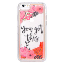 Flowing Liquid Glitter iPhone7 Funda con color rosa