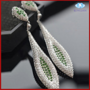 fashion jewelry plated platinum zircon earrings design for girl