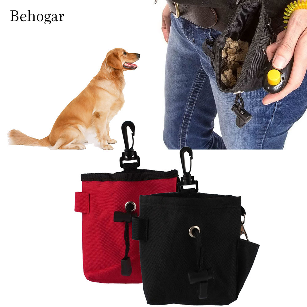 Behogar Mini Canvas Clicker Training Pet Dog Cat Training Snack Bag Food Treat Storage Holder Bag
