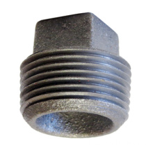 Black Malleable Iron Square Head Plug avec BSP Thread