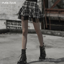 OPQ-602 punk rave woven fabric light and breathable plaid mesh stitching womens skirts