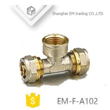 EM-F-A102 Messing-Messing-T-Stück Druckrohrverschraubung