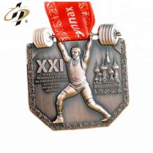Medalla de deporte de levantamiento de pesas de metal profesional barato 3d personalizado