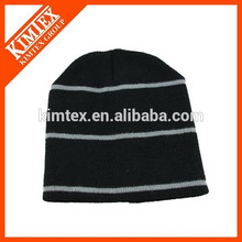 wholesale acrylic cheap custom striped hip hop beanie hat