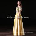 2017 nouvelle mode 2 pcs ensemble de couleur jaune satin longues robes de demoiselle d'honneur en gros