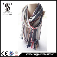 Hot selling long fringe plaid 100% viscose beauty scarf
