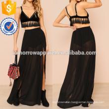Tasseled Bralette & Sheer Maxi Skirt Set Manufacture Wholesale Fashion Women Apparel (TA4007SS)