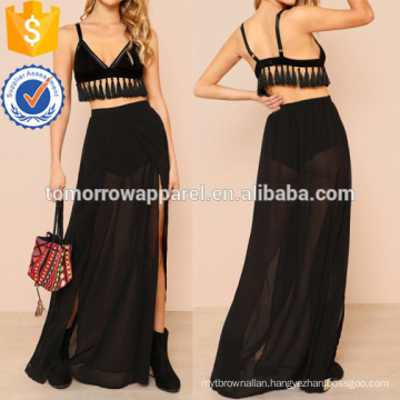 Tasseled Bralette & Sheer Maxi Skirt Set Manufacture Wholesale Fashion Women Apparel (TA4007SS)