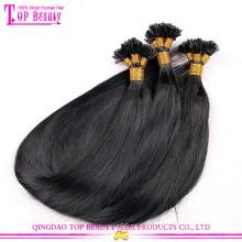 Fábrica por atacado preço U dica cabelo extensão peruano U não transformadas em linha reta ponta do cabelo