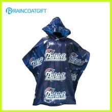 O logotipo feito sob encomenda do tipo imprimiu o poncho da chuva do PE para a promoção