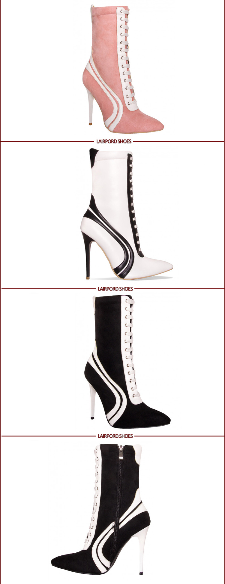 high heel ankle white stripe totem boots