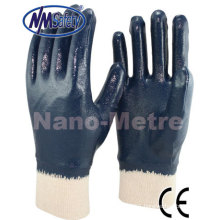 NMSAFETY blue nitrile full dipped work glove Jersey liner cotton coated nitrile glove