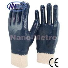 NMSAFETY azul nitrilo luva de trabalho mergulhado completo Jersey liner revestido de algodão luva de nitrilo