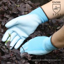 NMSAFETY bleu soutenu PU gant de construction de sécurité