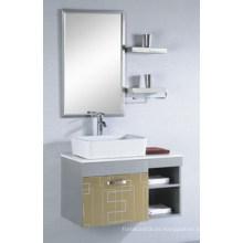 Gabinete de espejo popular Baño de cerámica de acero inoxidable Baño Vanity