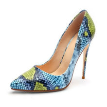 custom logo color large size 10cm stiletto heel snakeskin pu leather pointed toe women's shoes pumps