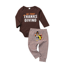 Thanksgiving Letter Long Sleeve Striped Pants Back Embroidered Pantsuits for Boys and Girls