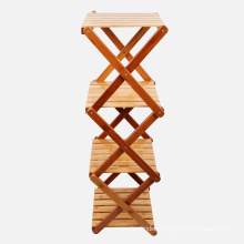 Foldable Bamboo 4-Layers Bathroom Storage Rack Display Shelf