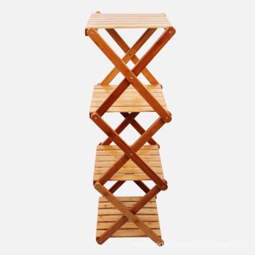 Foldable Bamboo 4-Layers Bathroom Storage Rack Display Shelf