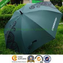 Rubber Hook Handle Automatic Golf Umbrella for Starbucks (GOL-0027FA)