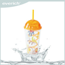Hot sale low price reusable plastic water tumbler with straw