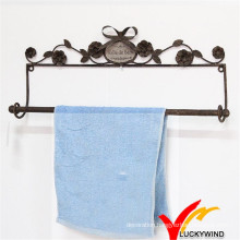 Rust Finish Wall Mounted Rustic Metal Towel Rack