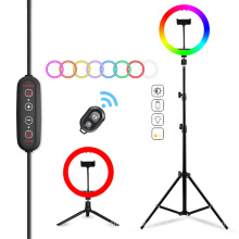 3200-5600K professional photography with tripod stand phone live broadcast 10 inch rgb led ring light