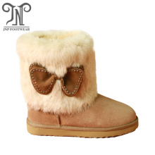 Stylish Girls Leather Winter Boots with Bows