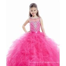 Alibaba rojo rosa Beaded naranja rojo escalonado ruffled vestido de bola por encargo júnior vestidos de desfile de las niñas LFG03
