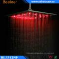 Bathroom Brushed High Flow Temperarure Control LED Light Top Shower